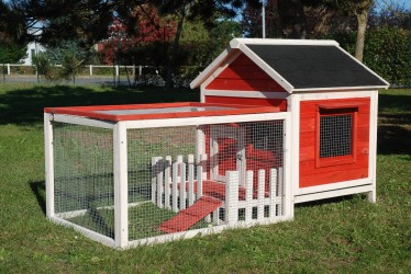 CAGE CLAPIER BOIS LAPIN ''ANIMALS COTTAGE'' CORAIL