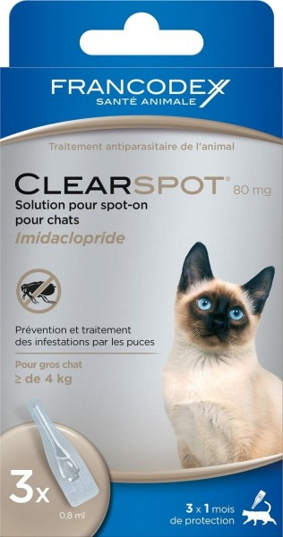 antiparasitaire pour chat de 4 kg clearspot 80mg animaloo. Black Bedroom Furniture Sets. Home Design Ideas