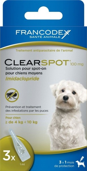 antiparasitaire pour chien moyen 4 10 kg clearspot 100mg animaloo. Black Bedroom Furniture Sets. Home Design Ideas