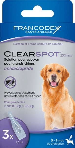 antiparasitaire pour grand chien 10 25 kg clearspot 250mg animaloo. Black Bedroom Furniture Sets. Home Design Ideas