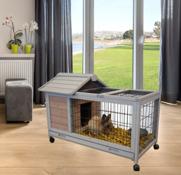 cage lapin interieur exterieur sur roues 39 39 dunland 39 39 animaloo. Black Bedroom Furniture Sets. Home Design Ideas