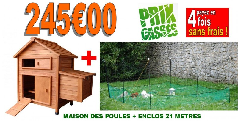 poulailler maison des poules filet enclos 21 metres animaloo. Black Bedroom Furniture Sets. Home Design Ideas
