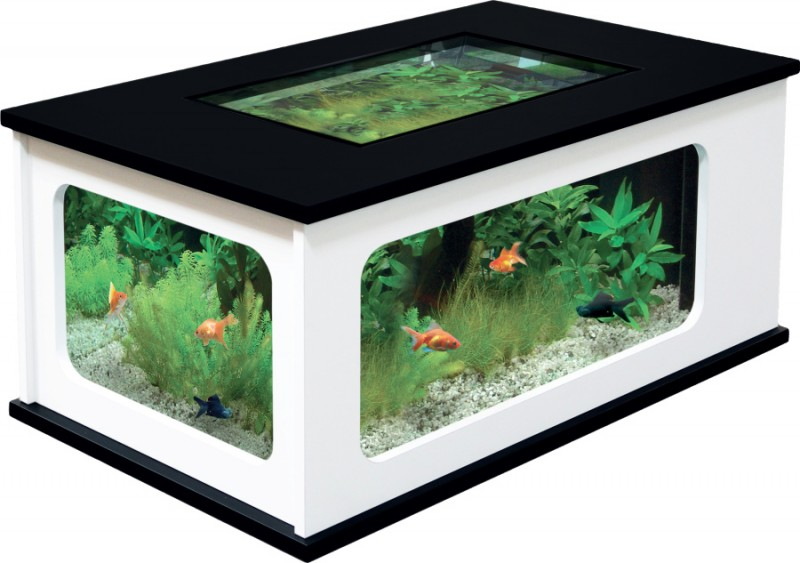 aquarium table basse pas cher noir et blanc 192 litres animaloo. Black Bedroom Furniture Sets. Home Design Ideas